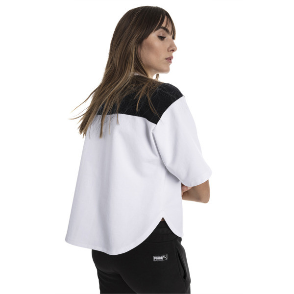 Modern Sports Cropped Women's Sweat Tee, Puma White-Black, large