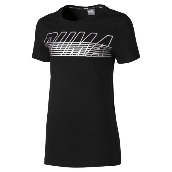 Alpha Logo Girls' Tee, Cotton Black, large