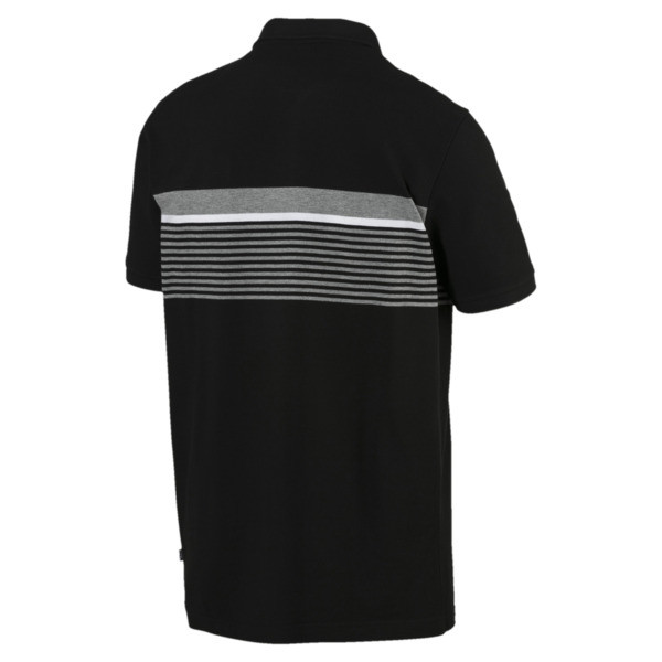 ESS+ Striped Men's Polo, Cotton Black, large