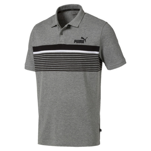 Camiseta tipo polo ESS+ Striped para hombre, Medium Gray Heather, grande