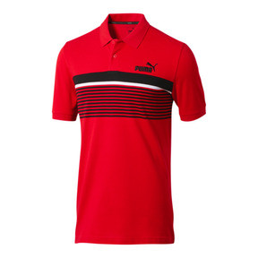 Thumbnail 1 of ESS+ Striped Men's Polo, High Risk Red, medium