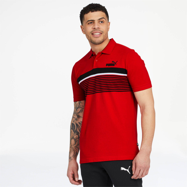 ESS+ Striped Men's Polo, High Risk Red, large