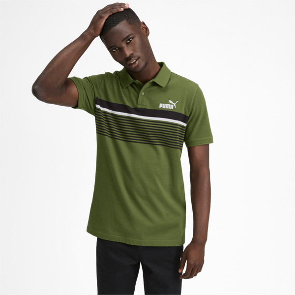 ESS+ Striped Men's Polo, Garden Green, large