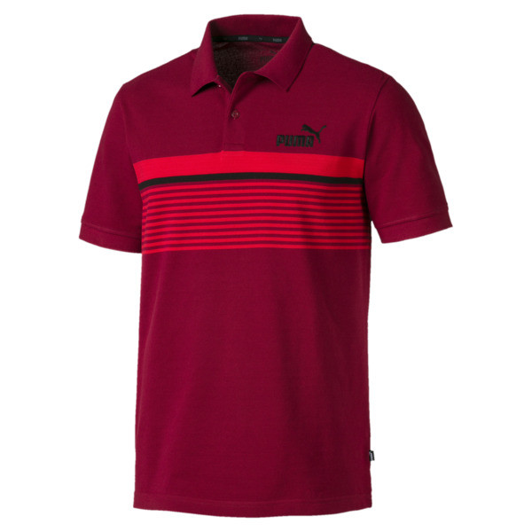 Camiseta tipo polo ESS+ Striped para hombre, Rhubarb-HRR-P Black, grande