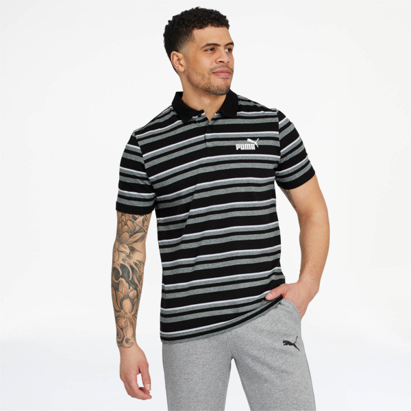 ESS+ Striped J Men's Polo, 01, large