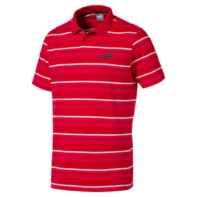 Thumbnail 1 of ESS+ Striped J Men's Polo, High Risk Red, medium