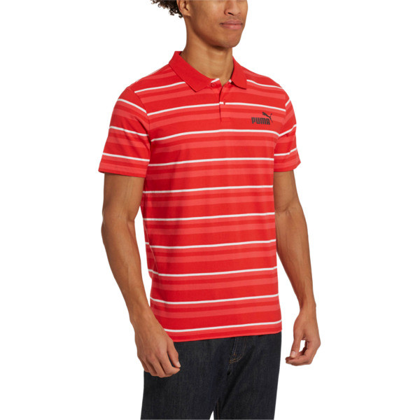 ESS+ Striped J Men's Polo, High Risk Red, large