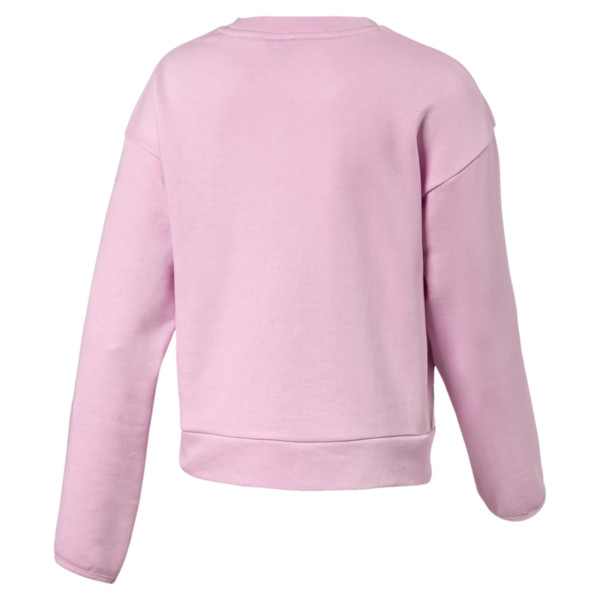 Alpha Crew Neck Girls' Pullover, Pale Pink, large