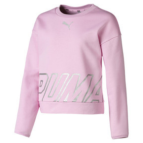 Thumbnail 1 of Alpha Crew Neck Girls' Pullover, Pale Pink, medium