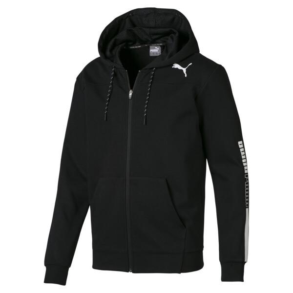 Modern Sports Hooded Men's Sweat Jacket, Puma Black, large