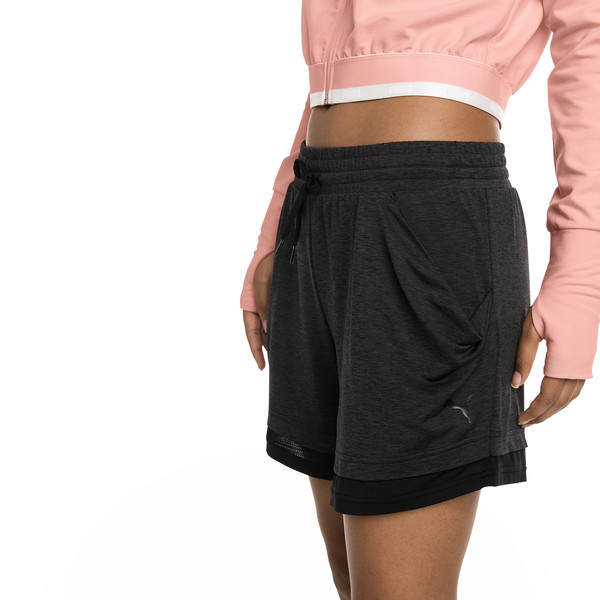 Soft Sports Women's Drapey Shorts, Puma Black Heather, large