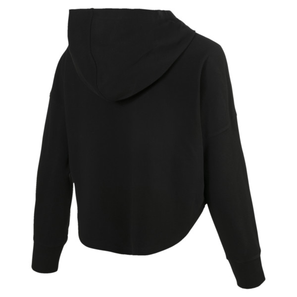 Summer Light Cropped Women's Hoodie, Cotton Black, large