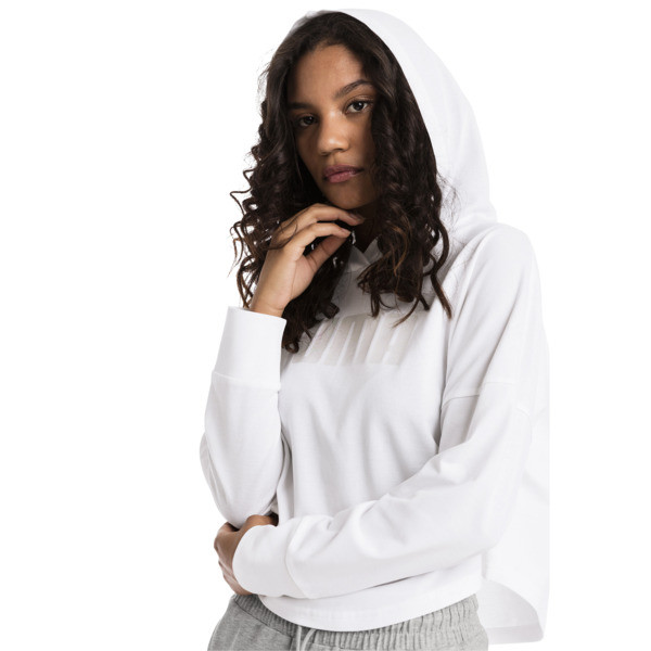 Summer Light Cropped Women's Hoodie, Puma White, large
