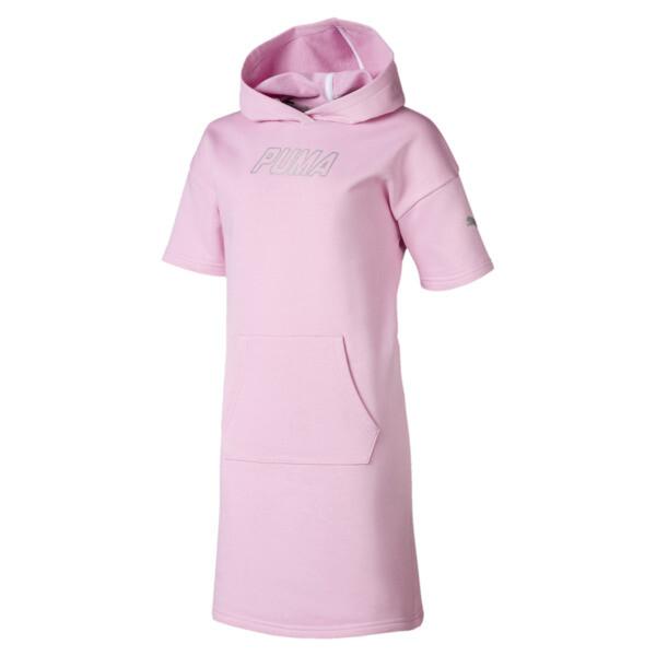 Alpha sweater-jurk met capuchon voor meisjes, Bleekroze, large