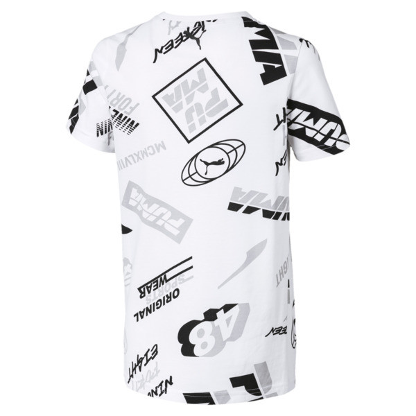 Alpha All-Over Printed Boys' Tee, Puma White, large