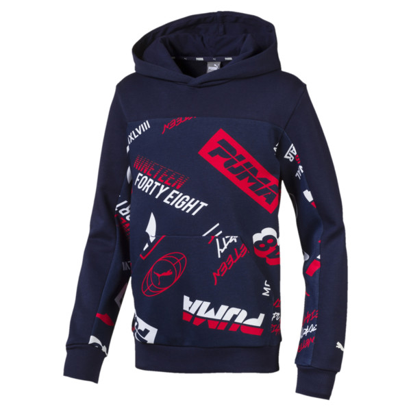 Alpha All-Over Printed Boys' Hoodie, Peacoat, large