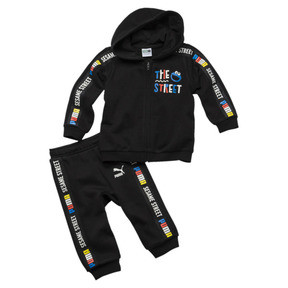 Thumbnail 1 of Sesame Street Hooded Baby Boys' Track Suit, Cotton Black, medium