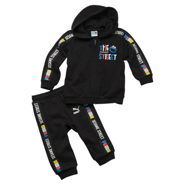 Sesame Street Hooded Baby Boys' Track Suit, Cotton Black, large