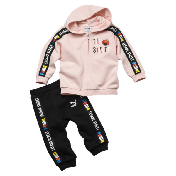 Sesame Street Hooded Baby Boys' Track Suit, Veiled Rose, large