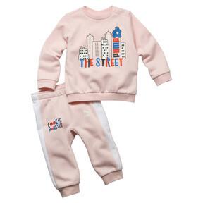 Thumbnail 1 of PUMA x SESAME STREET Infant + Toddler Crewneck Jogger Set, Veiled Rose, medium