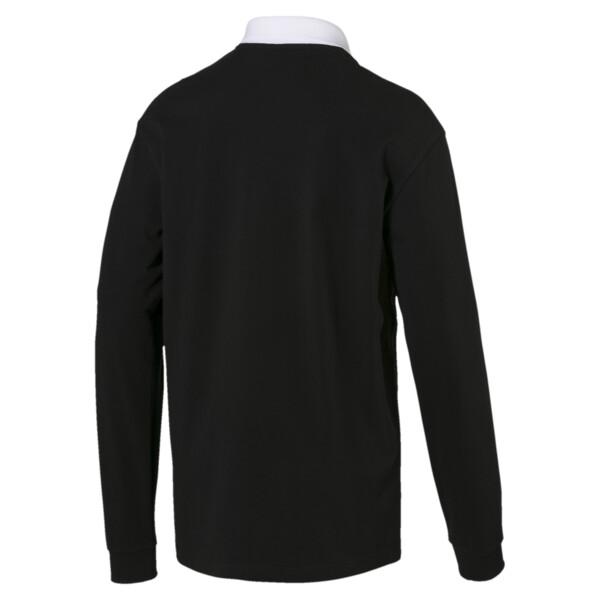 Rebel Men's Long Sleeve Polo, Cotton Black, large