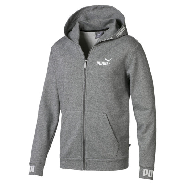 Amplified Hooded Men's Sweat Jacket, Medium Gray Heather, large