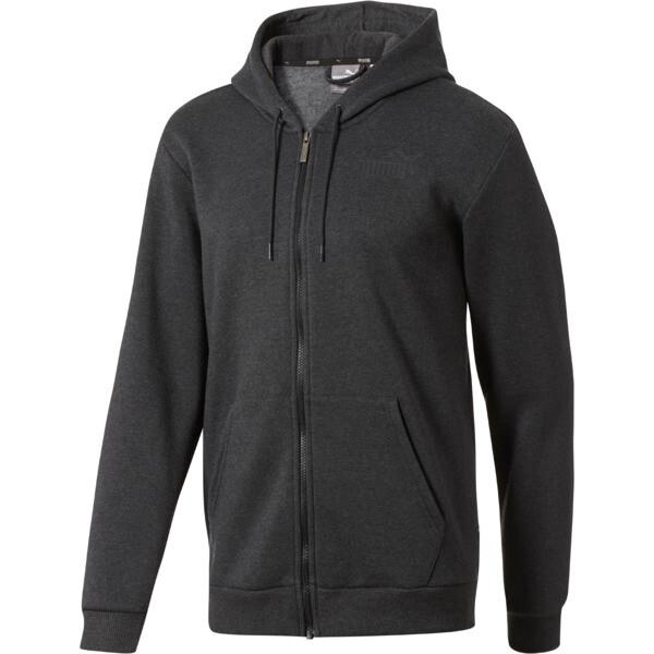 Essential + Full-Zip Hoodie, Dark Gray Heather, large