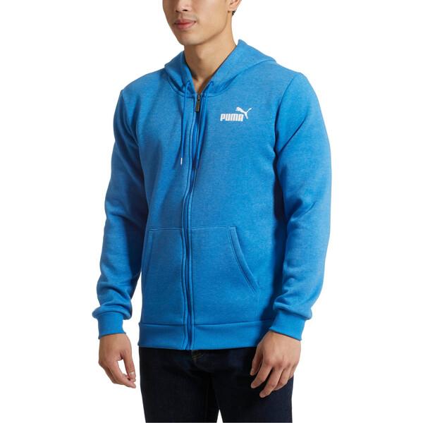 Essential + Full-Zip Hoodie, Strong Blue Heather, large