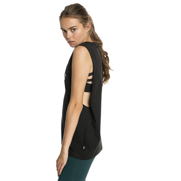 Essentials+ Cut Off Women's Tank Top, Cotton Black, large