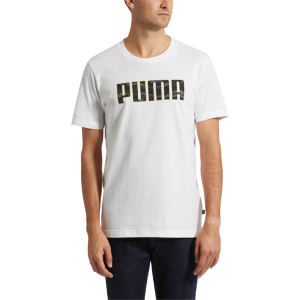 Camo Logo T-Shirt, Puma White-Gold, large