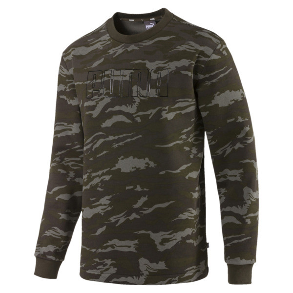 Camo Men's Fleece Crewneck Sweatshirt, Forest Night, large