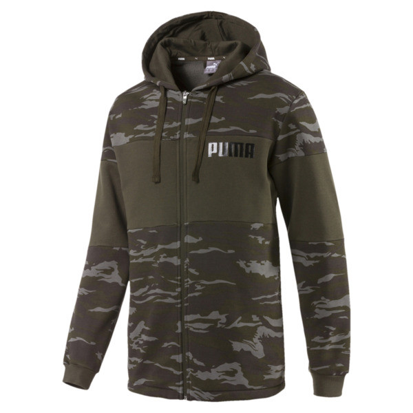 Camo Full-Zip Hoodie, Forest Night, large