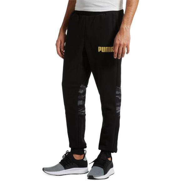 Men's Camo Sweatpants, Cotton Black, large