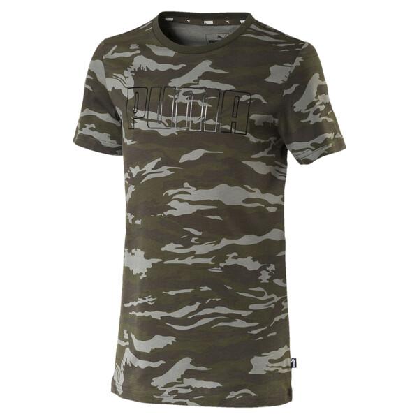 Camo AOP Logo Jungen T-Shirt, Forest Night, large