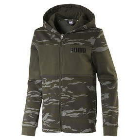 Thumbnail 1 of Blouson à capuche en polaire Camo AOP pour garçon, Forest Night, medium