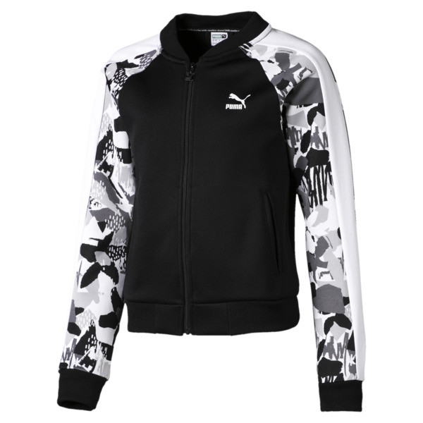 Classics Girls' T7 Jacket JR, Puma Black-AOP, large