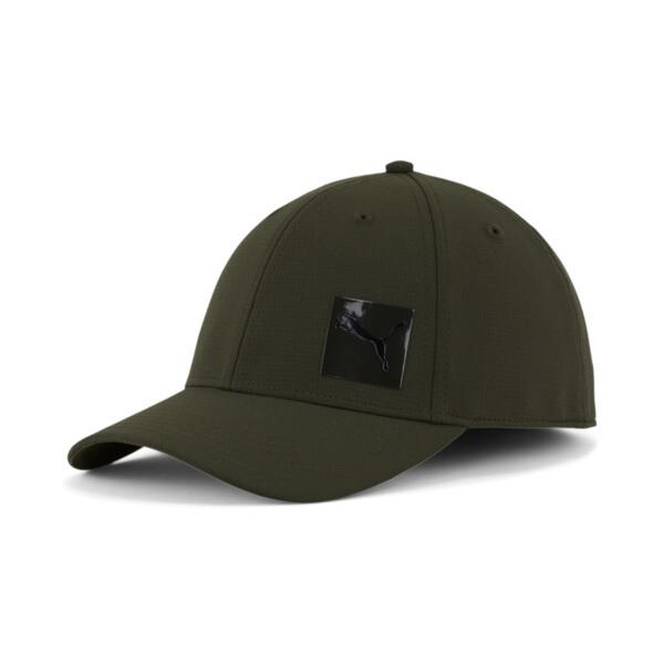 puma decimal 2.0 stretch fit cap in dark green, size s/m