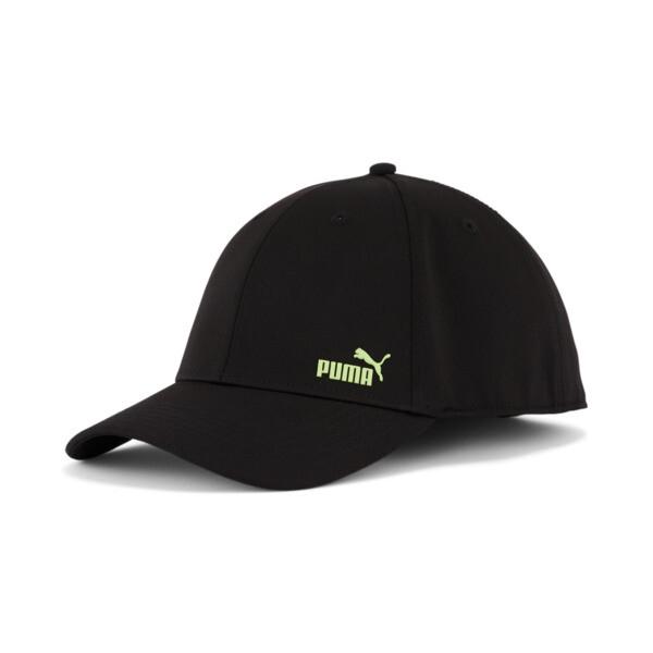 puma force 2.0 stretch fit cap in black/green, size s/m