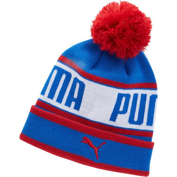 Capital Pom Beanie, Blue/Red, large