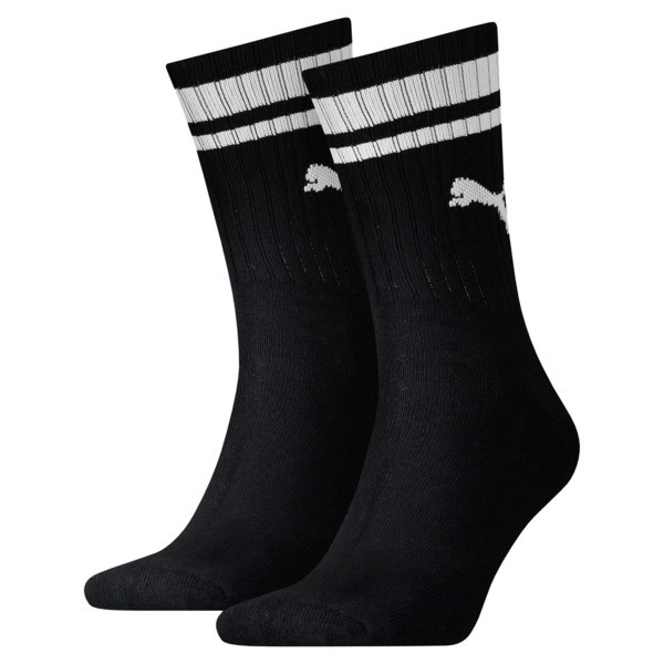 Heritage Striped Crew Socks 2 Pack, black, large