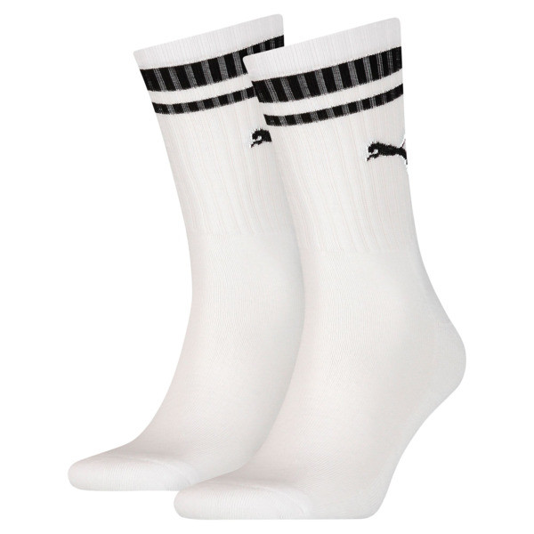 Heritage Striped Crew Socks 2 Pack, white, large