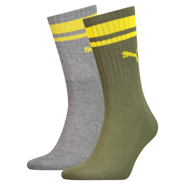 Heritage Striped Crew Socks 2 Pack, grey / green, large