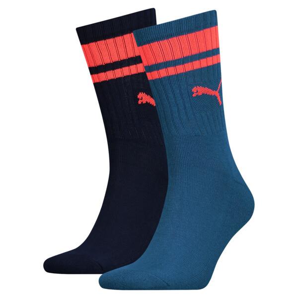Lot de deux paires de chaussettes Heritage Crew à rayures, blue / navy, large