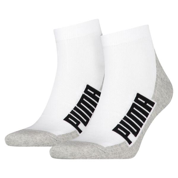 Cushioned Quarter Socks 2 Pack, white / grey / black, large