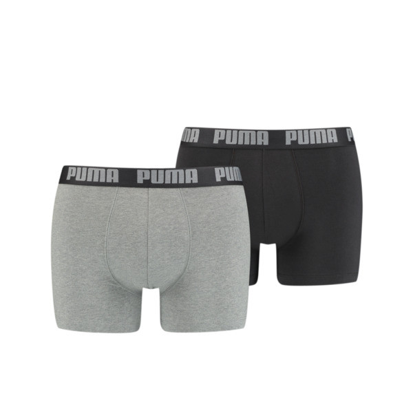 Herren Basic Boxershorts 2er Pack, dark grey melange / black, large