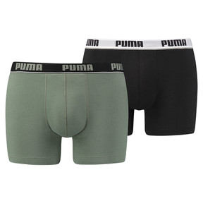 Thumbnail 1 of Men's Basic Stripe Elastic Boxer Shorts 2 Pack, green / black, medium