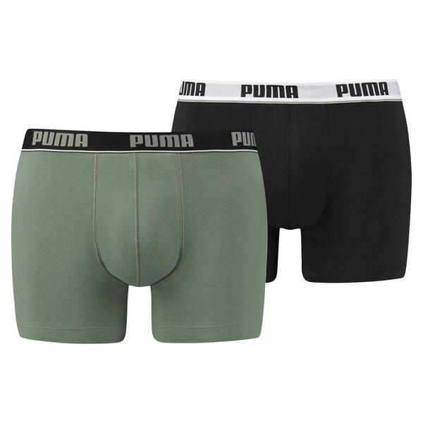 Herren Basic Stripe Elastic Boxershorts 2er Pack, green / black, large