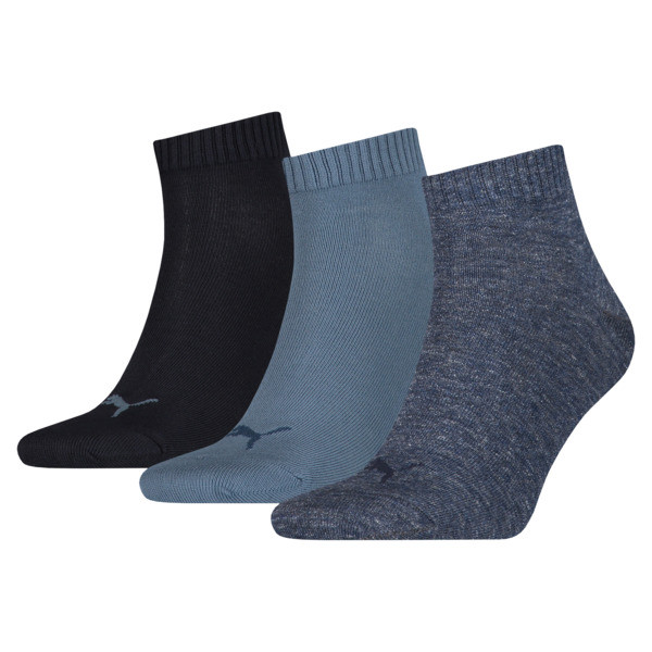 Plain Quarter Socks 3 Pack, denim blue, large