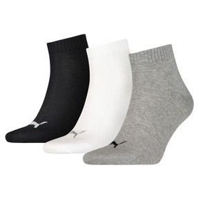 Thumbnail 1 of Plain Quarter Socks 3 Pack, grey/white/black, medium