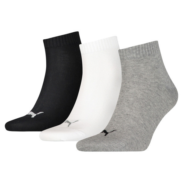 Plain Quarter Socks 3 Pack, grey/white/black, large